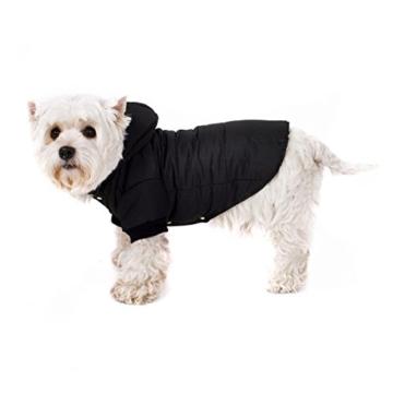 GOODS+GADGETS Schwarzer Hundemantel mit Kapuze; Schicke Hunde-Jacke Hundeanorak für Ihren Hund; Größe L (41cm) - 5