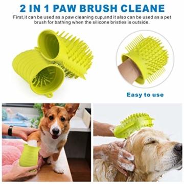 Idepet Hunde Pfote Reiniger,Haustier Pfotenreiniger mit Handtuch Dog Paw Cleaner für Hunde Katzen Massage Pflege Schmutzige Klauen (Grün) - 2