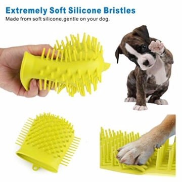 Idepet Hunde Pfote Reiniger,Haustier Pfotenreiniger mit Handtuch Dog Paw Cleaner für Hunde Katzen Massage Pflege Schmutzige Klauen (Grün) - 3