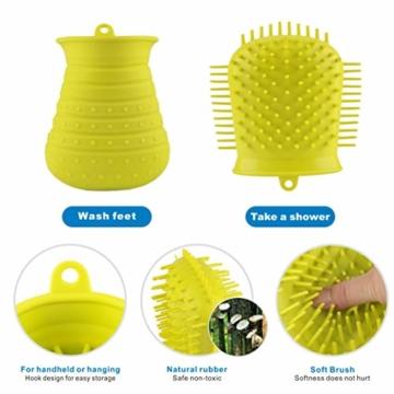 Idepet Hunde Pfote Reiniger,Haustier Pfotenreiniger mit Handtuch Dog Paw Cleaner für Hunde Katzen Massage Pflege Schmutzige Klauen (Grün) - 4