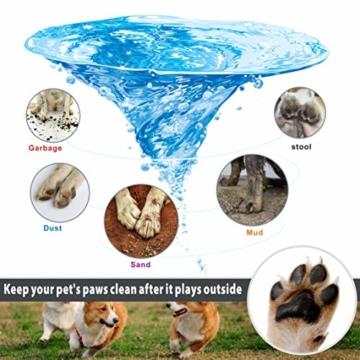 Idepet Hunde Pfote Reiniger,Haustier Pfotenreiniger mit Handtuch Dog Paw Cleaner für Hunde Katzen Massage Pflege Schmutzige Klauen (Grün) - 5