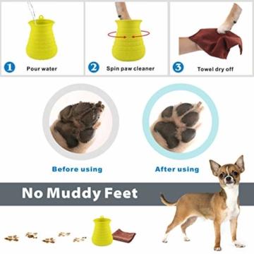 Idepet Hunde Pfote Reiniger,Haustier Pfotenreiniger mit Handtuch Dog Paw Cleaner für Hunde Katzen Massage Pflege Schmutzige Klauen (Grün) - 6