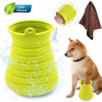 Idepet Hunde Pfote Reiniger,Haustier Pfotenreiniger mit Handtuch Dog Paw Cleaner für Hunde Katzen Massage Pflege Schmutzige Klauen (Grün) - 7