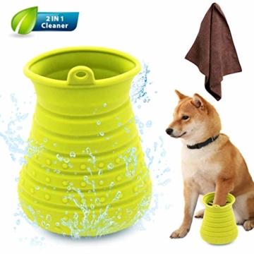 Idepet Hunde Pfote Reiniger,Haustier Pfotenreiniger mit Handtuch Dog Paw Cleaner für Hunde Katzen Massage Pflege Schmutzige Klauen (Grün) - 8