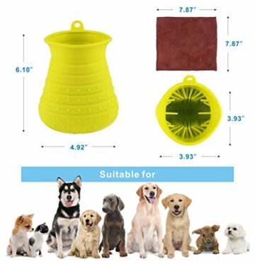 Idepet Hunde Pfote Reiniger,Haustier Pfotenreiniger mit Handtuch Dog Paw Cleaner für Hunde Katzen Massage Pflege Schmutzige Klauen (Grün) - 9