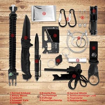 LC-dolida Survival Kit 15 in 1, Außen Notfall Survival Kit mit Messer/Taktische Taschenlampe für Camping/Bushcraft/Wandern/Jagden/Outdoor Abenteuer - 2
