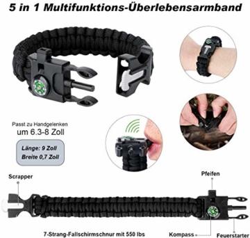 LC-dolida Survival Kit 15 in 1, Außen Notfall Survival Kit mit Messer/Taktische Taschenlampe für Camping/Bushcraft/Wandern/Jagden/Outdoor Abenteuer - 3