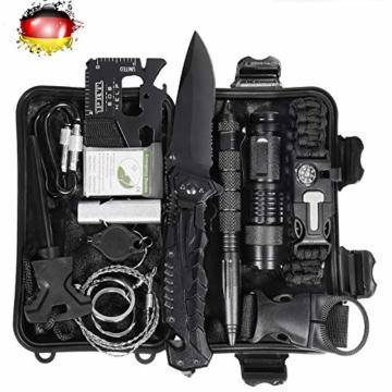 LC-dolida Survival Kit 15 in 1, Außen Notfall Survival Kit mit Messer/Taktische Taschenlampe für Camping/Bushcraft/Wandern/Jagden/Outdoor Abenteuer - 1