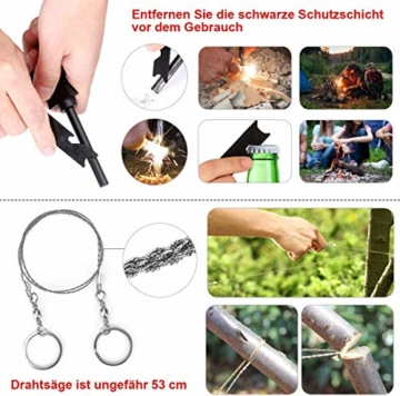 LC-dolida Survival Kit 15 in 1, Außen Notfall Survival Kit mit Messer/Taktische Taschenlampe für Camping/Bushcraft/Wandern/Jagden/Outdoor Abenteuer - 7