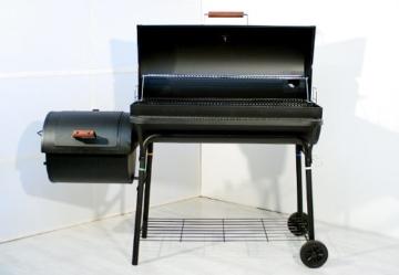 Nexos BBQ Grill Smoker Grillwagen Holzkohlegrill 2 Kammern Barbecue Transporträder Temperaturanzeige Stahlblech Lüftungsklappen Ablageflächen Verschiedene Modelle wählbar (57 kg) - 3