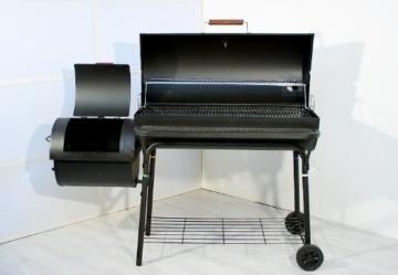 Nexos BBQ Grill Smoker Grillwagen Holzkohlegrill 2 Kammern Barbecue Transporträder Temperaturanzeige Stahlblech Lüftungsklappen Ablageflächen Verschiedene Modelle wählbar (57 kg) - 4