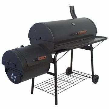 Nexos BBQ Grill Smoker Grillwagen Holzkohlegrill 2 Kammern Barbecue Transporträder Temperaturanzeige Stahlblech Lüftungsklappen Ablageflächen Verschiedene Modelle wählbar (57 kg) - 1