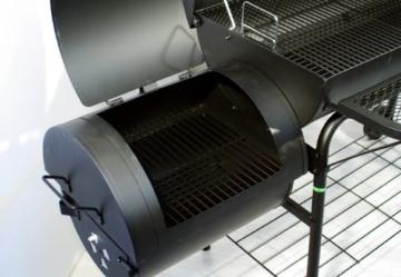 Nexos BBQ Grill Smoker Grillwagen Holzkohlegrill 2 Kammern Barbecue Transporträder Temperaturanzeige Stahlblech Lüftungsklappen Ablageflächen Verschiedene Modelle wählbar (57 kg) - 5