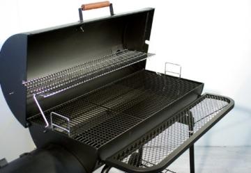 Nexos BBQ Grill Smoker Grillwagen Holzkohlegrill 2 Kammern Barbecue Transporträder Temperaturanzeige Stahlblech Lüftungsklappen Ablageflächen Verschiedene Modelle wählbar (57 kg) - 7