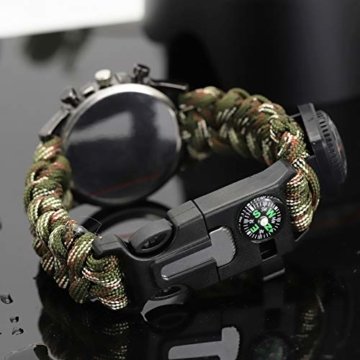 Outdoor-Uhren Multifunktion Tarnung Sportuhr Kompass Thermometer Armbanduhren für Herren Nylonband, Grün - 2