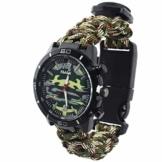 Outdoor-Uhren Multifunktion Tarnung Sportuhr Kompass Thermometer Armbanduhren für Herren Nylonband, Grün - 1