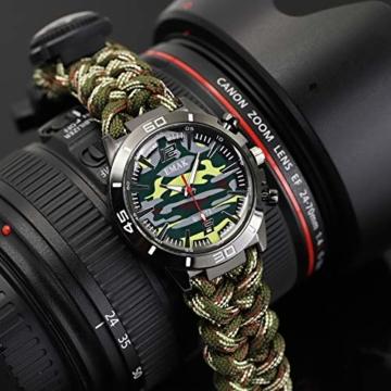 Outdoor-Uhren Multifunktion Tarnung Sportuhr Kompass Thermometer Armbanduhren für Herren Nylonband, Grün - 4