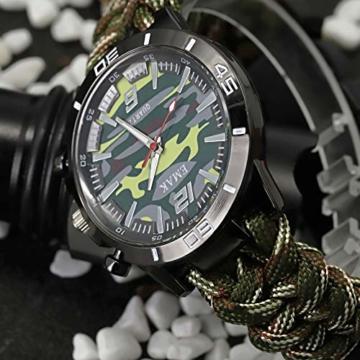 Outdoor-Uhren Multifunktion Tarnung Sportuhr Kompass Thermometer Armbanduhren für Herren Nylonband, Grün - 5