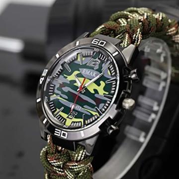 Outdoor-Uhren Multifunktion Tarnung Sportuhr Kompass Thermometer Armbanduhren für Herren Nylonband, Grün - 7