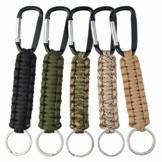 Paracord Schlüsselanhänger mit Karabiner, geflochtenes Schlüsselband, Haken, Survival-Kits für Schlüssel, Outdoor, Camping, Wandern, Rucksack, für Männer und Frauen, 5 Farben - 1