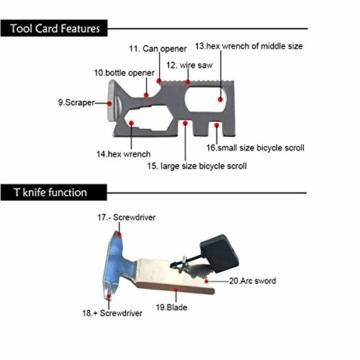 Paracord Survival Armband Kit für Herren Damen, Survival Armband mit Feuerstein + Kompass + Thermome (Schwarz + Armeegrün) - 3