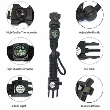 Paracord Survival Armband Kit für Herren Damen, Survival Armband mit Feuerstein + Kompass + Thermome (Schwarz + Armeegrün) - 4