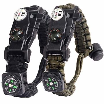 Paracord Survival Armband Kit für Herren Damen, Survival Armband mit Feuerstein + Kompass + Thermome (Schwarz + Armeegrün) - 1