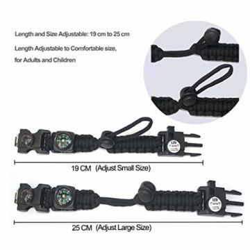 Paracord Survival Armband Kit für Herren Damen, Survival Armband mit Feuerstein + Kompass + Thermome (Schwarz + Armeegrün) - 5