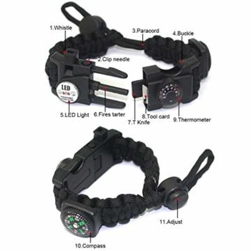 Paracord Survival Armband Kit für Herren Damen, Survival Armband mit Feuerstein + Kompass + Thermome (Schwarz + Armeegrün) - 6