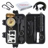 Proster Survival Kit 16 in 1 Notfall Survival Gear Multifunktionales Zubehör Survival Werkzeug für Camping Outdoor Sport Reisen Wandern - 1