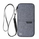 Reiseorganizer Tasche Ausweistasche mit RFID Blocker -Evershop Wasserdicht Reisedokumententasche Reisepass Tasche mit Handschlaufe für Pass, Kreditkarten, Flugkarten,Münzen und andere Reise-Zubehör - 1