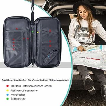 Reiseorganizer Tasche Ausweistasche mit RFID Blocker -Evershop Wasserdicht Reisedokumententasche Reisepass Tasche mit Handschlaufe für Pass, Kreditkarten, Flugkarten,Münzen und andere Reise-Zubehör - 3