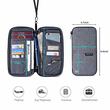 Reiseorganizer Tasche Ausweistasche mit RFID Blocker -Evershop Wasserdicht Reisedokumententasche Reisepass Tasche mit Handschlaufe für Pass, Kreditkarten, Flugkarten,Münzen und andere Reise-Zubehör - 4