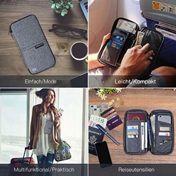 Reiseorganizer Tasche Ausweistasche mit RFID Blocker -Evershop Wasserdicht Reisedokumententasche Reisepass Tasche mit Handschlaufe für Pass, Kreditkarten, Flugkarten,Münzen und andere Reise-Zubehör - 5