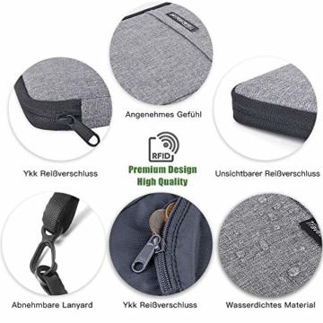 Reiseorganizer Tasche Ausweistasche mit RFID Blocker -Evershop Wasserdicht Reisedokumententasche Reisepass Tasche mit Handschlaufe für Pass, Kreditkarten, Flugkarten,Münzen und andere Reise-Zubehör - 6