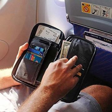 Reiseorganizer Tasche Ausweistasche mit RFID Blocker -Evershop Wasserdicht Reisedokumententasche Reisepass Tasche mit Handschlaufe für Pass, Kreditkarten, Flugkarten,Münzen und andere Reise-Zubehör - 7
