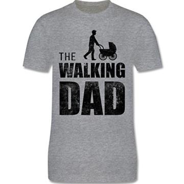 Shirtracer The Walking Dad Herren T-Shirt und Männer Tshirt (L, Grau Meliert) - 3