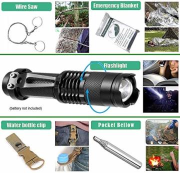 Survival Kit 24 in 1, Außen Erste Hilfe Set Männer, Freund, Ehemann, Papa oder Vater ideal Vatertagsgeschenk, für Wandern, Camping, Outdoor-Abenteuer - 3