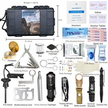 Survival Kit 24 in 1, Außen Erste Hilfe Set Männer, Freund, Ehemann, Papa oder Vater ideal Vatertagsgeschenk, für Wandern, Camping, Outdoor-Abenteuer - 4
