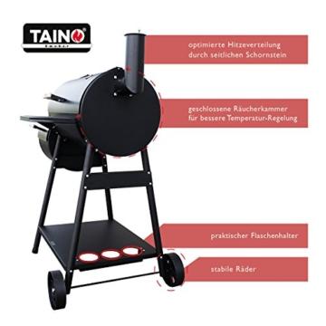 TAINO XL Smoker Bayamo BBQ GRILLWAGEN Holzkohle Grill Grillkamin Standgrill Räucherofen Grilllok - 2
