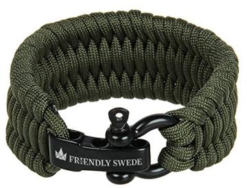 The Friendly Swede Einstellbares Trilobit Paracord Survival Überlebens-Armband (Grün, 18 cm - 19,5 cm Handgelenksumfang) - 2