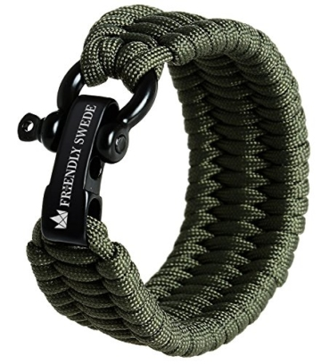 The Friendly Swede Einstellbares Trilobit Paracord Survival Überlebens-Armband (Grün, 18 cm - 19,5 cm Handgelenksumfang) - 1