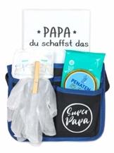 Trend Mama Geschenke für werdende Väter-Super Papa Toolgürtel Windelwechsler Geschenkset mit coolem Inhalt und Baby Lätzchen handbedruckt mit Spruch -Papa du schaffst das- - 1