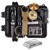 TRSCIND Survival Kit Set, Camping und Reisen - Notfall Set mit Klappmesser, Feuerstarter, Taschenlampe, Tactical Pen und Weiterem Zubehör - 1