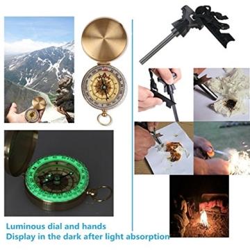 TRSCIND Survival Kit Set, Camping und Reisen - Notfall Set mit Klappmesser, Feuerstarter, Taschenlampe, Tactical Pen und Weiterem Zubehör - 8
