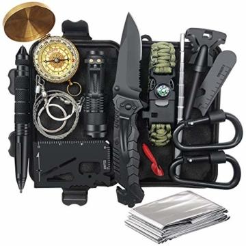 Unihoh Survival Kit 15 in 1,Außen Notfall Survival Kit mit Klappmesser, Armband, Taschenlampe,Rettungsdecke Optimal für Campen oder Wandern Outdoor Abenteuer - 1