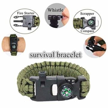 Unihoh Survival Kit 15 in 1,Außen Notfall Survival Kit mit Klappmesser, Armband, Taschenlampe,Rettungsdecke Optimal für Campen oder Wandern Outdoor Abenteuer - 6