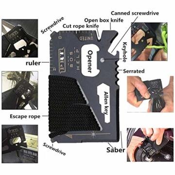 Unihoh Survival Kit 15 in 1,Außen Notfall Survival Kit mit Klappmesser, Armband, Taschenlampe,Rettungsdecke Optimal für Campen oder Wandern Outdoor Abenteuer - 7