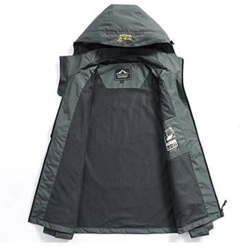 Volwassan Wasserdichte Damenjacke, leicht, für Bergtouren, Outdoor, Laufen, Angeln, Winddicht, Regenmantel mit Kapuze XS Schwarz - 3