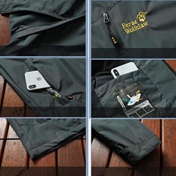 Volwassan Wasserdichte Damenjacke, leicht, für Bergtouren, Outdoor, Laufen, Angeln, Winddicht, Regenmantel mit Kapuze XS Schwarz - 4